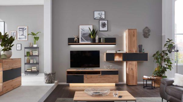 Interliving Wohnzimmer Serie 2005 – Wohnwand mit Beleuchtung